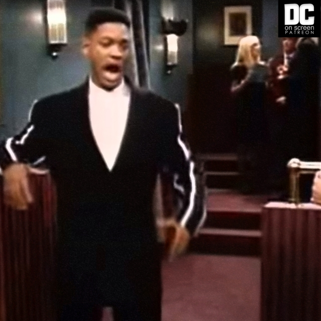 Will Smith describes a raggedy old halter top that says Jam on an episode of the Fresh Prince Text: DC on SCREEN Patreon